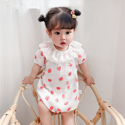 Baby Girl's Collar Strawberry Bodysuit - 0524 - Little Kooma