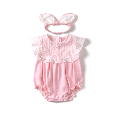 Baby Girl Whtie Square Collar Pink Bodysuit n Headwrap Set - 0611 - Little Kooma