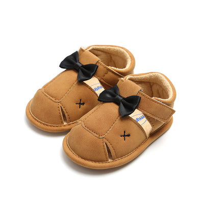 Baby Boy Anti-slip PU Leather Sandals w Bow - 0912 - Little Kooma