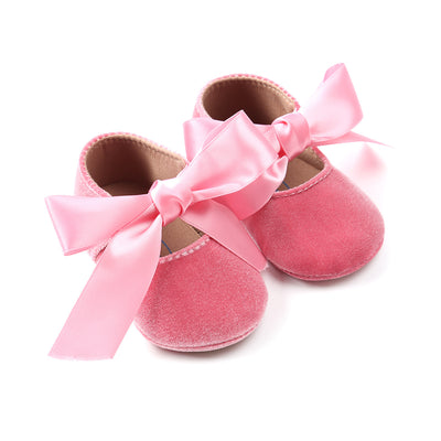 Baby Girl Anti-slip Velvet Flats Adjustable Bowtie - 0912 - Little Kooma