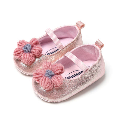 Baby Girl Glitter Flats Knit Flower - 0912 - Little Kooma