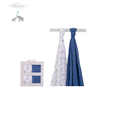 New Hudson Baby Single Layer Muslin 2 Piece Pack 00568 - 0801 - Little Kooma