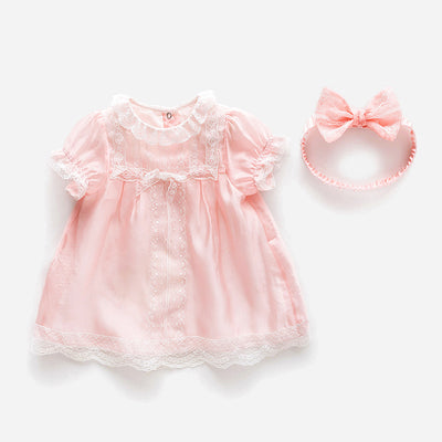 Baby Girl Pink w White Lace Dress n Headwrap 2 Piece Set - 0611 - Little Kooma