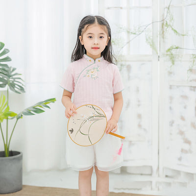 [KG16] Kids Girls Cheongsam 2 Piece Set Top n Voile Shorts CNY Chinese New Year Outfit - Little Kooma