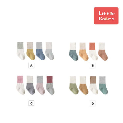 Baby Kid Splicing Long Socks 4 Pairs Pack - Little Kooma