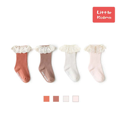 Baby Girl Ruffled Lace Cuffs Long Socks Anti-slip - Little Kooma