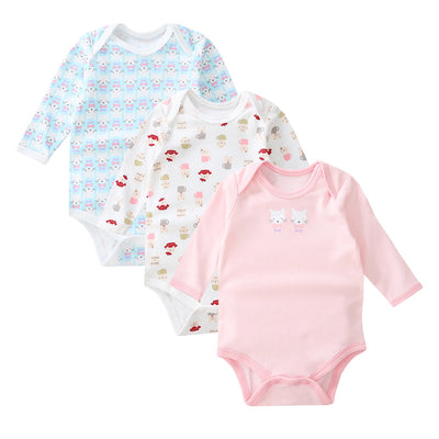 Baby Girl Long Sleeve Bodysuit Cats 3 Pack - Little Kooma
