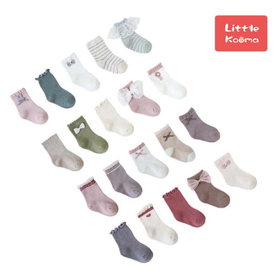 Baby Kid Girls Agaric Trim Cuffs Lace Socks 5 Pairs Pack - Little Kooma