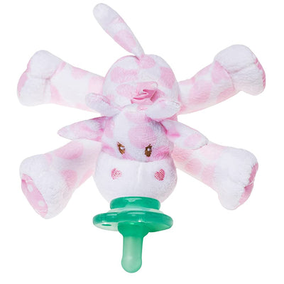 Nookums Paci-Plushies Buddies - Pink Giraffe Pacifier Holder - Plush Toy Includes Detachable Pacifier - Little Kooma
