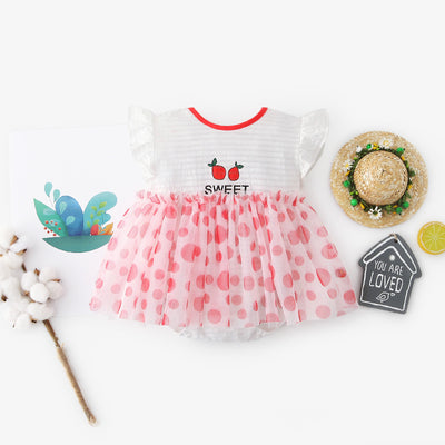 [ZBG09] Baby Girl Fruit Bodysuit Dress Voile Dotted Skirt - Little Kooma