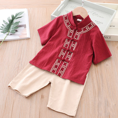 [KB02] Kids Boys Cheongsam Set Top n Shorts CNY Chinese New Year Outfit - Little Kooma