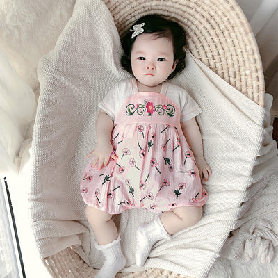 [BG04] Baby Girl Splicing Floral Cheongsam Romper - Little Kooma