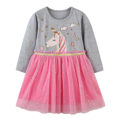 Kids Baby Girl's Splicing Grey n Pink Long Sleeve Voile Dress Embroidered Unicorn - 1021 - Little Kooma