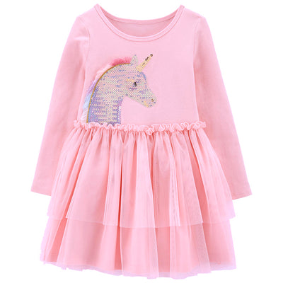 Kids Baby Girl's Splicing Pink Long Sleeve Voile Dress Sequin Unicorn - 1021 - Little Kooma