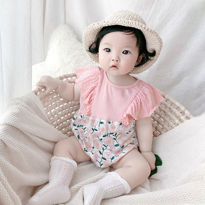[ZBG13] Baby Girl Splicing Floral Bodysuit Ruffled Sleeves White Chrysanthemum - Little Kooma