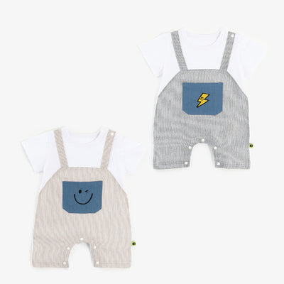 Baby Plaid Fake Two Piece Romper - 1006 - Little Kooma