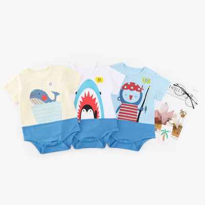 Baby Splicing Bodysuit w Penguin Shark Whale - 1009 - Little Kooma