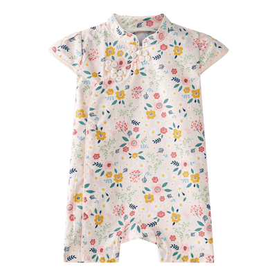 Baby Girl Cheongsam Romper Pink n Yellow Flowers - Little Kooma