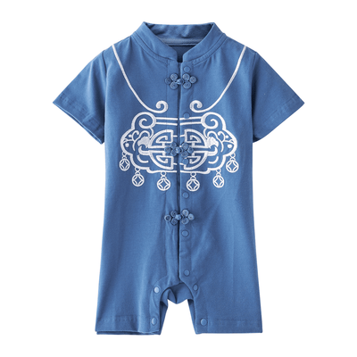 Baby Boy Cheongsam Romper Ruyi Lock Dark Blue - Little Kooma