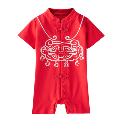 [BB04] Baby Boy Cheongsam Romper Ruyi Lock Red - Little Kooma
