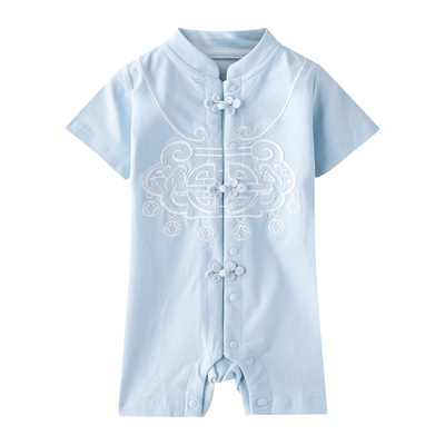 [BB03] Baby Boy Cheongsam Romper Ruyi Lock Blue - Little Kooma