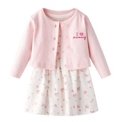 [ZBG04] Baby Girl White w Pink Rose Bodysuit Dress n Pink Cardigan w I Love Mummy 2 Pc Set - Little Kooma