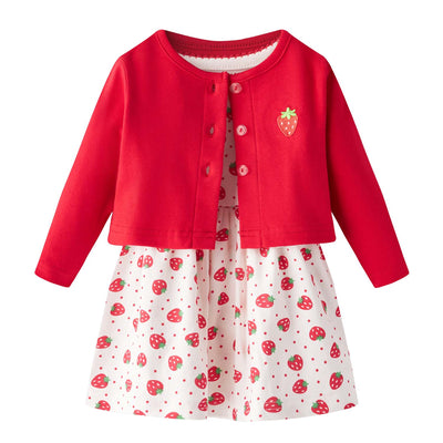 [ZBG05] Baby Girl Strawberry Bodysuit Dress n Pink Cardigan 2pc Set - Little Kooma