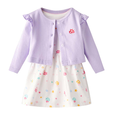 [ZBG01] Baby Girl White w Mushroom Bodysuit Dress n Purple Ruffled Cardigan 2 Pc Set - Little Kooma