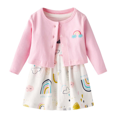 [ZBG03] Baby Girl White w Clouds Sun Rainbow Bodysuit Dress n Pink Cardigan 2 Pc Set - Little Kooma