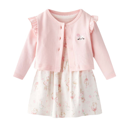 Baby Girl White w Mouse Bodysuit Dress n Pink Ruffled Cardigan 2 Pc Set - Little Kooma