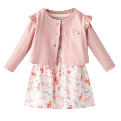 [ZBG02] Baby Girl White w Unicorn Bodysuit Dress n Pink Ruffled Cardigan 2 Pc Set - Little Kooma