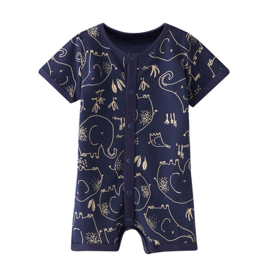 Baby Boy Dark Blue w Elephants Romper - Little Kooma