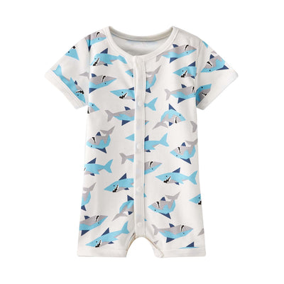 Baby Boy White w Sharks Romper - Little Kooma