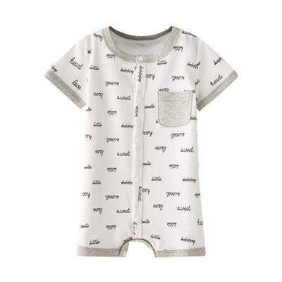 Baby Boy White w Words n Pocket Romper - Little Kooma