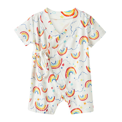 Baby Kimono Romper White w Rainbows - 1118 - Little Kooma