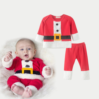 Baby Christmas Outfit Santa Claus Fluffy Two Piece Set - 1125 - Little Kooma