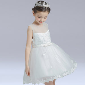 Girl's White Butterfly Gown Comfirmation Dress