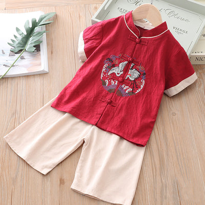 [KB06] Kids Boys Cheongsam Set Top n Shorts Embroidered Crane n Circle Auspicious Clouds CNY Chinese New Year Outfit - Little Kooma