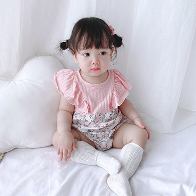 [ZBG10] Baby Girl Splicing Floral Bodysuit Ruffled Sleeves Little Flowers - Little Kooma
