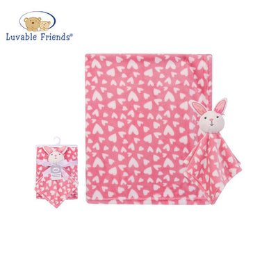 Luvable Friends Plush Blanket With Sherpa Backing Bunny Heart 40406 - Little Kooma