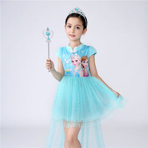 Elsa Cheongsam Dress w Detachable Cape Frozen Costume