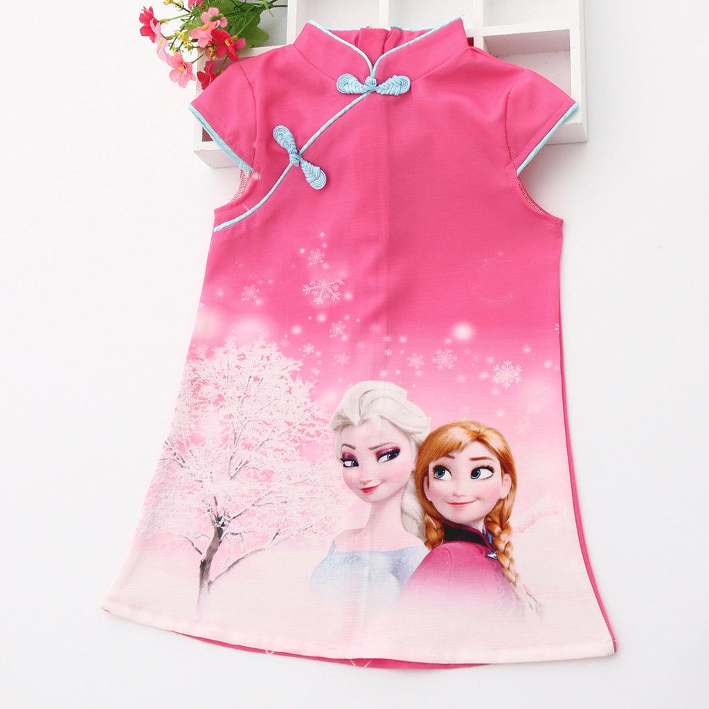 Girls Elsa Cheongsam Dress Frozen Costume