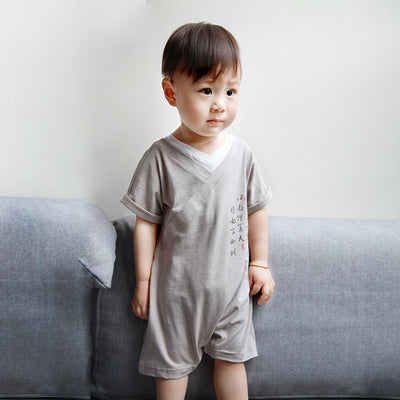 Baby Boy Cheongsam Romper Fake Two Piece Brown - Little Kooma