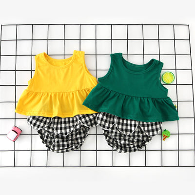 Baby Girl Sleeveless Top n Plaid Knickers Set - 1006 - Little Kooma