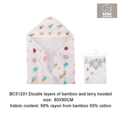 Hooded Bath Towel Muslin Swaddle Comfort Bamboo Cotton - 0512 - Little Kooma