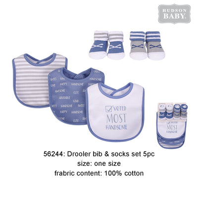 Hudson Baby Bibs n Socks 5 Pcs Pack - Little Kooma