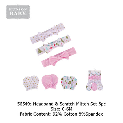 Hudson Baby Girl's Headwrap n Mittens 6 Piece Pack - 0512 - Little Kooma