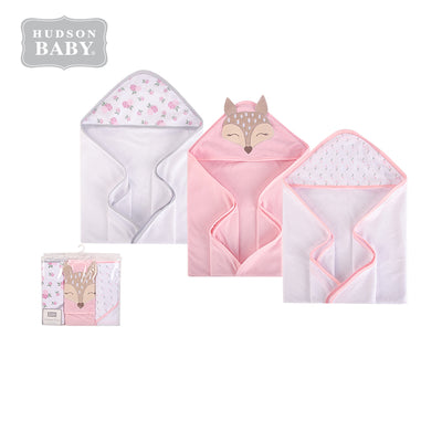 Hudson Baby Knit Terry Hooded Towel Set 3 Piece 57899 Fawn - Little Kooma