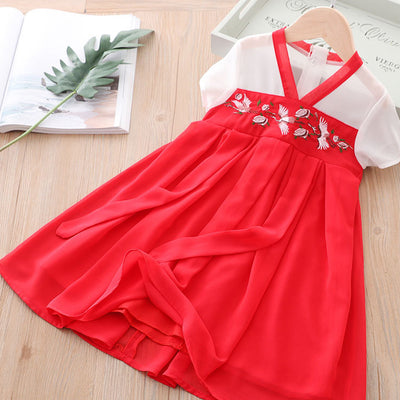 [KG15] Kids Girls Voile Splicing Cheongsam Dress w Embroidered Crane n Flowers CNY Chinese New Year Outfit - Little Kooma