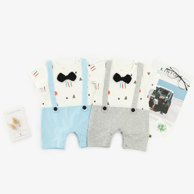 Baby Boy Fake Two Piece Romper w Suspenders n Bow - 1009 - Little Kooma